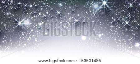 Blue winter festive luminous banner with snow. Vector illustration.