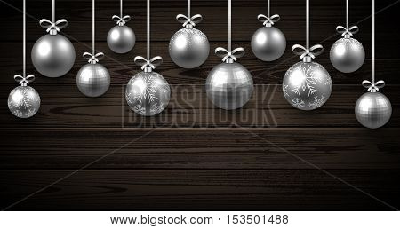 New Year wooden background with silver Christmas balls. Vector illustration.