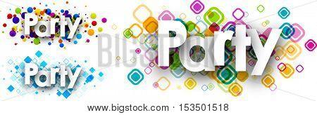 Party colour banners set. Vector paper illustration.