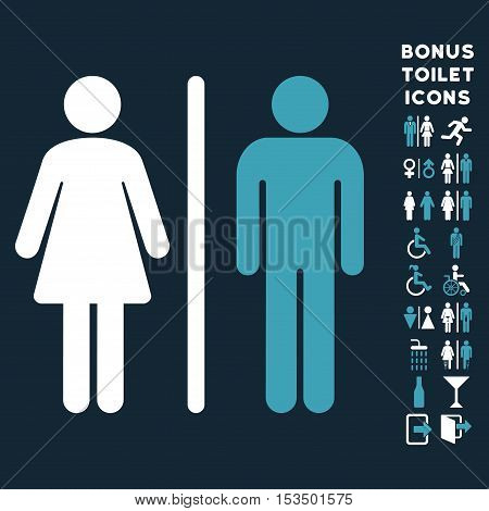 WC Persons icon and bonus male and female toilet symbols. Vector illustration style is flat iconic bicolor symbols, blue and white colors, dark blue background.