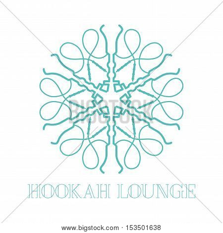 Hookah vector logo icon symbol emblem sign. Isolated decorative graphic design element with oriental ornament for hookah lounge bar. Turkish eastern style label