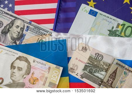 america europe ukraine and russia - flag and money