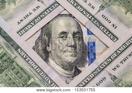 Macro shot of new 100 dollar banknote