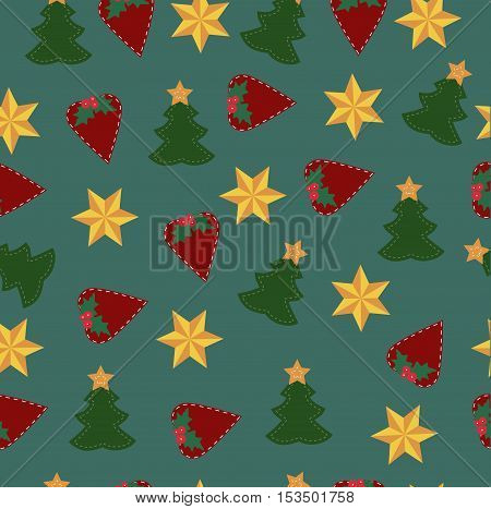 colorful childrens Christmas background with Christmas elements. Pattern for gift wrapping or scrapbook. Christmas symbols on a green background. Baby vector illustration