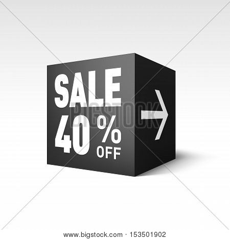 Black Cube Banner Template for Holiday Sale Event. Forty Percent off Discount