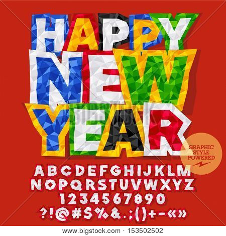 Vector sticker Happy New Year 2017 greeting card with set of letters, symbols and numbers. File contains graphic styles