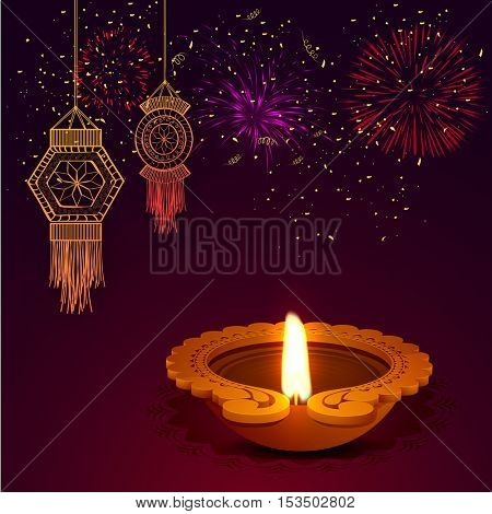 Indian Festival of Lights celebration background with creative illuminated Oil Lamp (Diya), Hanging Kandil Lamps and Firework explosion, Elegant Greeting Card for Happy Diwali.