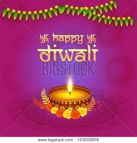 Elegant Greeting Card design decorated with beautiful illuminated Oil Lamp (Diya) on floral decorated shiny background for Indian Festival of Lights, Happy Diwali celebration.