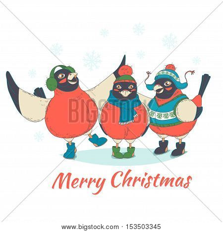 Festive Funny Merry Christmas Card With Three Birds Bullfinches Wearing Hats, Boots And Sweaters. Ha
