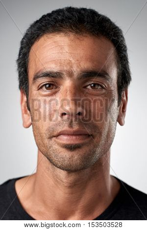Portrait of white caucasian man with no expression ID or passport photo