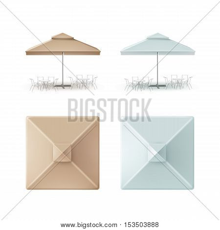 Vector Set of Light Blue Beige Blank Patio Outdoor Market Beach Cafe Bar Pub Restaurant Square Umbrella Parasol  for Branding Top Side Front View Mock up Close up Isolated on White Background.