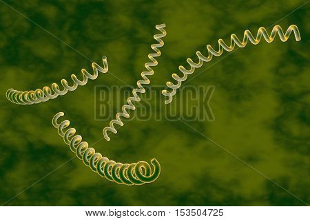 Treponema pallidum on colorful background, bacterium which causes syphilis, sexually transmitted bacterium, close-up view. 3D illustration