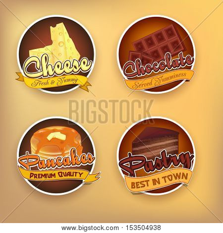 Food stickers set. Fresh Cheese, Chocolate, Pancake and Pastry label or badge design on shiny background.