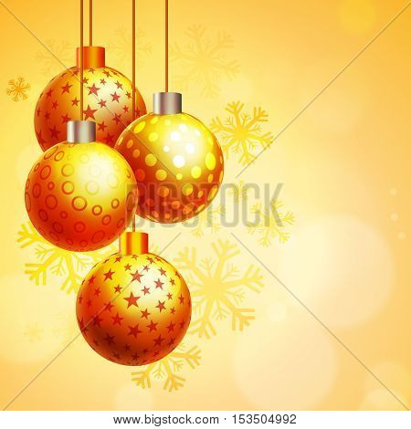 Merry Christmas celebration with hanging Xmas Balls on snowflakes decorated background.