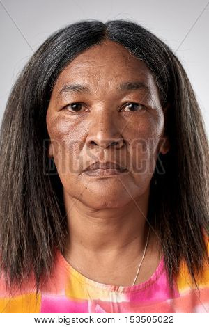 Portrait of black african woman with no expression ID or passport photo