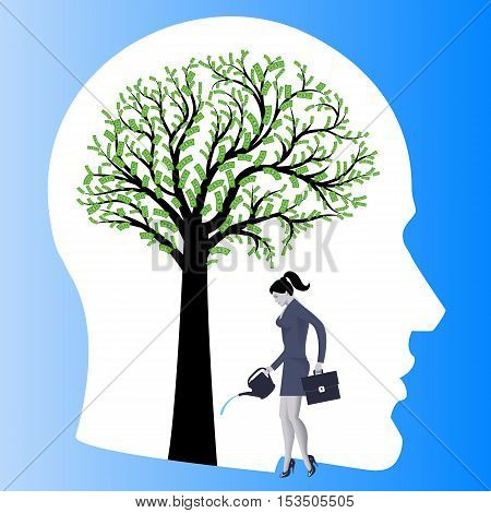 Financial thinking mentor business concept. Business lady watering big tree in form of human brain with dollar bills instead of leaves. Concept of financial thinking development of profit strategy.