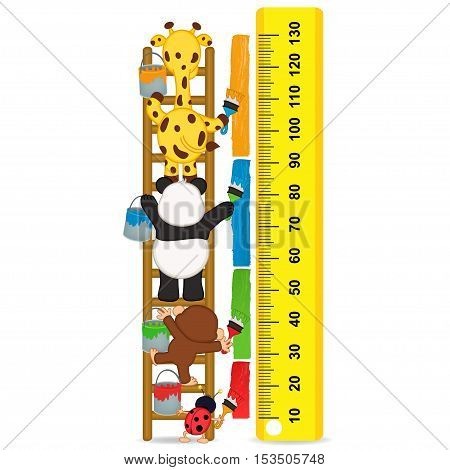 animals brush paint strip for measure the child growth - vector illustration, eps