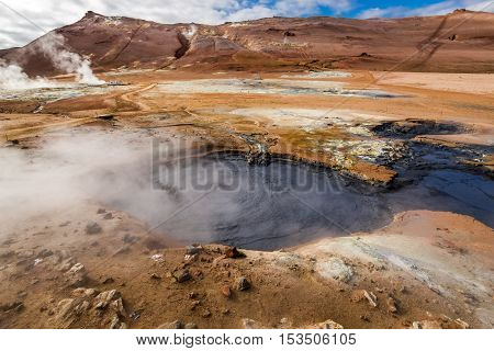 Namafjall Hot And Steamy Landscape In Iceland