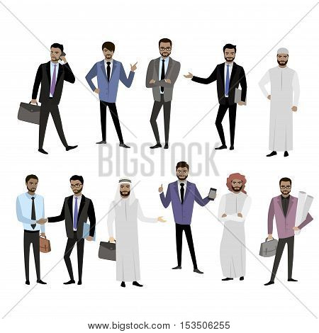 Big set cartoon Arab men in different clothes and character isolated on white vector illustration