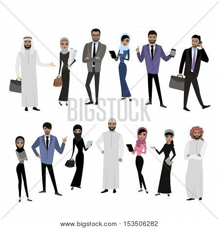 Big cartoon set of Arab men and women in different clothes and characters isolated on white vector illustration