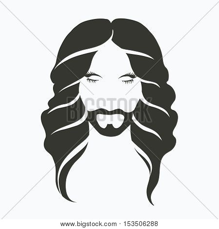 vector icon portrait of a man with a beard and a beautiful long hair, perm, monochrome, stylish, fashionable men s hairstyle