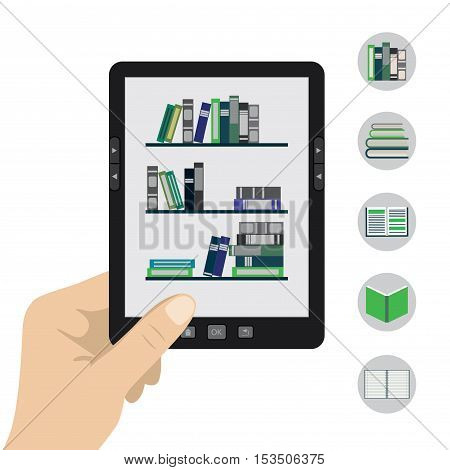 Vector illustration of a hand holding portable modern tablet e-book reader in hand.Five book icons.