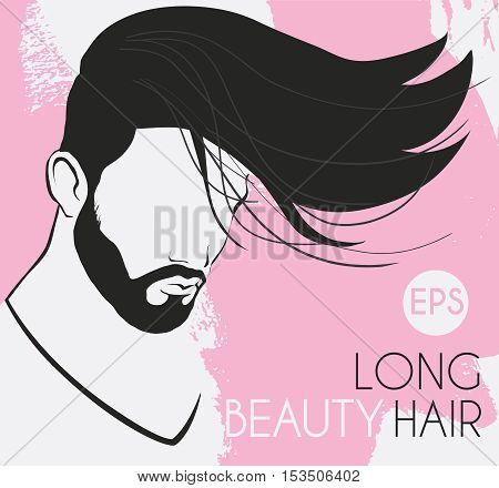vector portrait of a man with a beard with long hair beautiful, smooth, twisted line background is pink spots, card, business card salon, hairdressing,