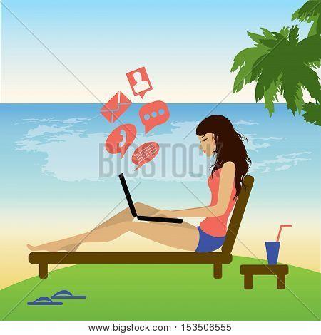 Freelance girl work on beach. Vector flat illustration
