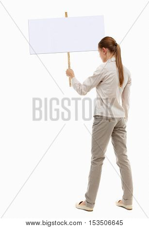 Back view woman showing sign board. man holds information plate. Rear view people collection. backside view person. Isolated over white background. girl in gray jacket holding a pointer in his hand