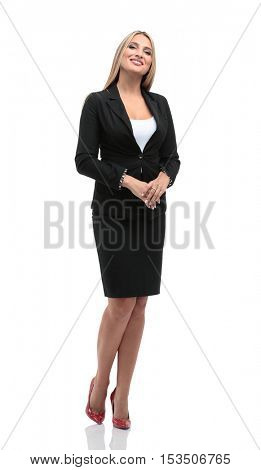 Portrait of businesswoman looking at something  isolated on whit