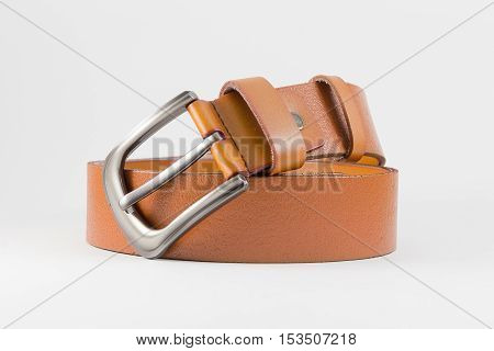 leather belt brown color for men isolated