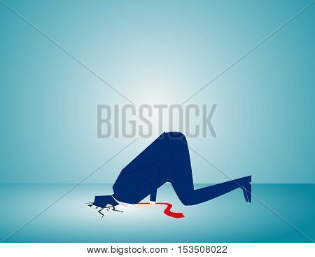 Businessman Hiding His Head In Ground. Concept Business Illustration. Vector Flat