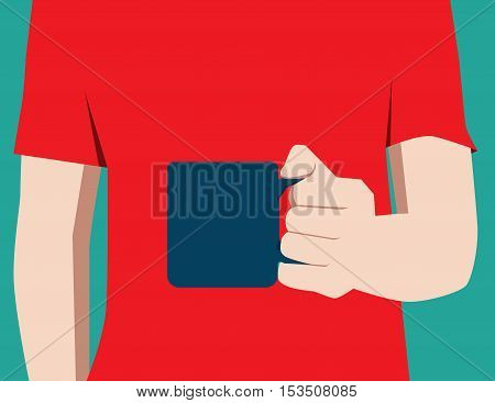 Man In Red Shirt Holding Blue Coffee Mug. Concept Business Illustration. Vector Flat