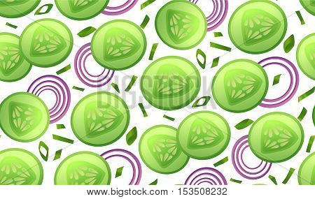 Cucumber fresh slices piece salad onion circles slice chives seamless pattern . Vector beautiful fabric horizontal closeup top view textile wallpaper background design illustration isolated on white
