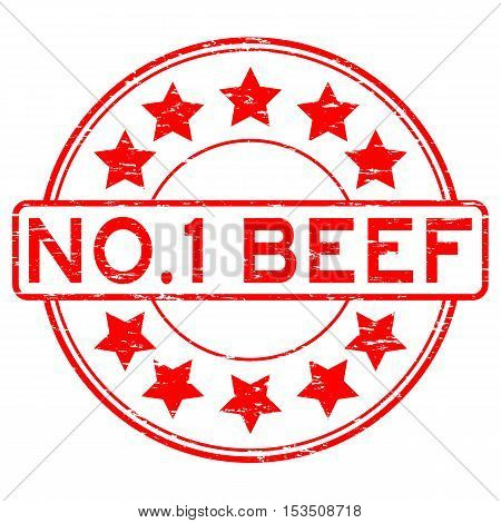 Grunge red no. 1 beef with star rubber stamp