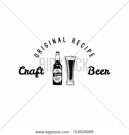Craft beer black glass and white label of bottle with lettering and starburst in hipster style. Oktoberfest. Vector illustration.