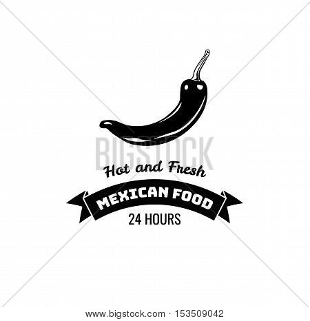 Chili Pepper Label. Mexico Food. Traditional Mexican Cuisine Vector