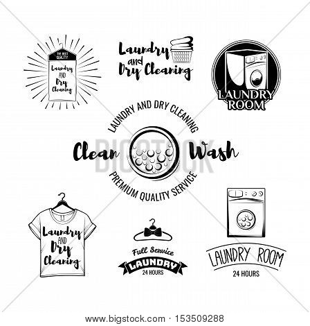The Laundry basket. Washing Machine. A Clothes hanger. The t-shirt. Sportive T-Shirt. Case For Clothes. Iron. Dry cleaning. Labels and Badges Set. Illustration Vector