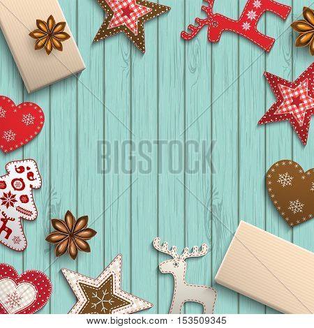 Christmas background, small scandinavian styled red decorations lying on blue wooden desk, inspired by flat lay style, vector illustration, eps 10 with transparency