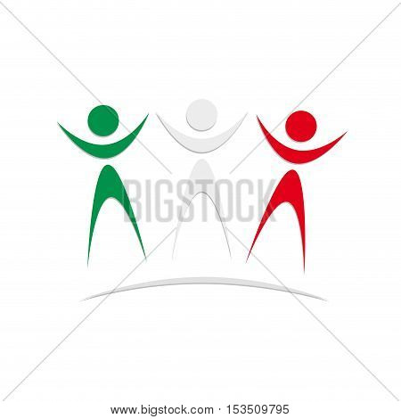 Vector logo Italian and Mexican solidarity, illustration isolated