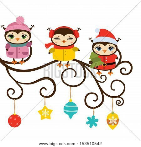 Christmas owls. Illustration with cartoon owls sitting on the tree branch isolated on white background.