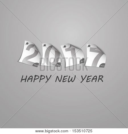 Best Wishes - Abstract Silver Grey New Year Card Template Design with Numerals Printed on Curled Pinned Note Paper - Greeting Card for Year 2017