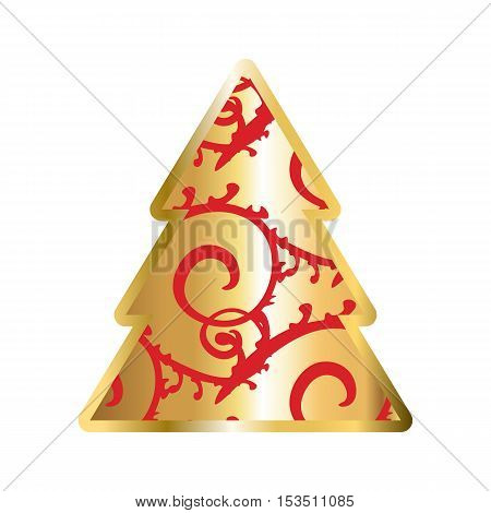 Gold And Red Christmas Tree Icon