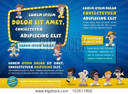 Poster template design with happy cartoon children.