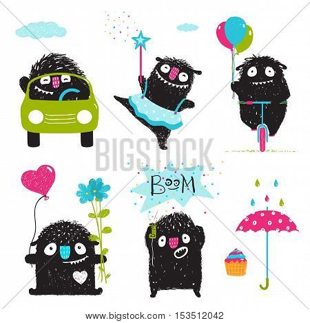 Sweet kids playful fictional characters dancing, driving bicycle and car, loving, playing. Set of monster graphics for design. Vector illustration.