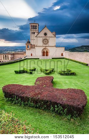 Basilica in Assisi Umbria Italy in summer