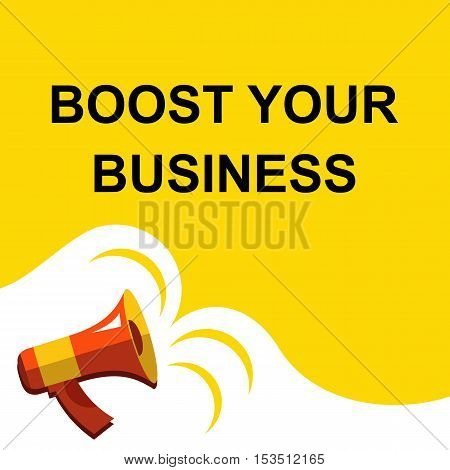 Megaphone With Boost Your Business Announcement. Flat Style Illustration