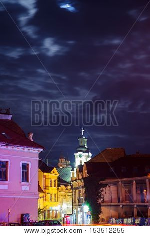 October 14. 2016 Downtown Night Uzhgorod Ukraine Road Lights