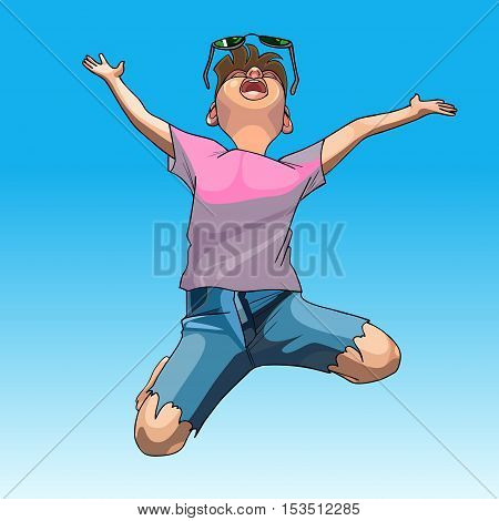 cartoon funny guy enthusiastically jumps on the background of the sky