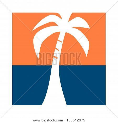 Vector sign tour operator sunset with palm trees on the sea